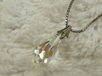 Silvertone Crystal Point Pendant Necklace  (A8)