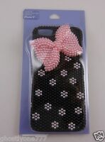 for Iphone 5  phone case black and white pink bow  bling Claire' fits i phone 5