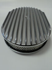 "12"" Oval Finned Polished Aluminum Classic Nostalgia Air Cleaner Chevy Ford Mopar"