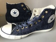 Navy Knitted converse High Tops size 7 With Faux Fur Lining