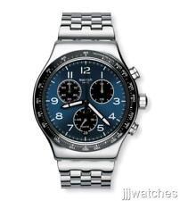 Swatch Irony Meshme Steel Dark Blue Silver Chronogragh Watch YVS457G