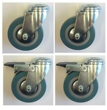 4 x 50mm swivel and braked (locking) castors. Grey rubber bolthole casters. RT37
