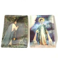 Vintage 3-D Religious Post card Jesus Christ Virgin Mary Our Lady 2 Postcards