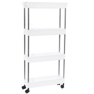 4 TIER SLIDE OUT STORAGE TOWER RACK - LAUNDRY/KITCHEN ROLLING NARROW ORGANIZER