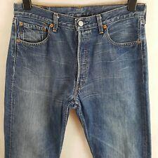 Levis 501 Mens Jeans Blue W34 L34 Pure Cotton Denim Straight Button Fly Vtg