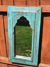 Antique Vintage Large Indian Arched Mughal Art Deco Mirror Blue Turquoise Paint