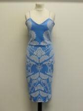 Tolles Modern Party Abend Cocktail Kleid Etuikleid Stretch Gr.46 Blau-Weiß