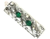 1920s Czech Brooch Silver Plated Filigree Green Glass Cabochon Vintage Retro