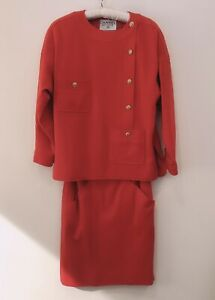 CHANEL Vintage CC Logo Skirt Jacket Coat Suit SET 36