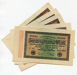 Rare 1923 20000 German Mark Banknote X 5 Pieces 20 000 Reichsbanknote