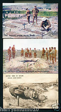 WWI PC postcards trenches  Burial grave British tank (A1)