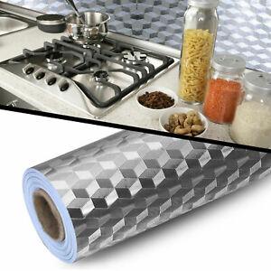 Self Adhesive Aluminum Foil Kitchen Cabinet Wall Sticker Wallpaper Oil-proof