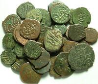 Lot 3 Rare original Islamic copper Bronze Mangir coins/Arabic/Ottoman Empire 15c