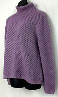 Liz Claiborne Womens Sweater Turtleneck Loose Knit Purple Metallic Threads Large