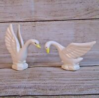 Vintage Porcelain White Country Geese Swans Figurines Japan Goose