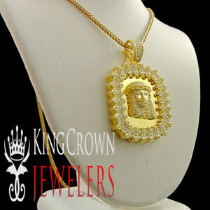 10K Yellow Gold Silver Jesus Face Pendant Dog Tag Frame Charm Simu Diamond Chain