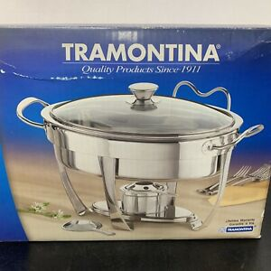 Tramontina Chafing Dish Oval Premium Stainless Steel 4 QT 3.8L Lifetime Warr