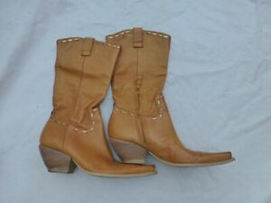 WOMENS BCBGirls GENUINE LEATHER BOOTS POINTED TOE CAMEL/GOLD STITCH SIZE 8 #4944