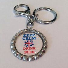 Keep Calm Drink Beer Bottle Top Key Ring, Key Chain with Union Jack, Handmade
