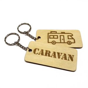 CARAVAN Keyring Wooden Engraved Keychain Car Van Key Fob Organise Your Keys