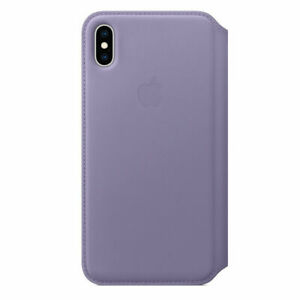 Official Apple iPhone XS Max Leather Folio Wallet Case Lilac MVFV2ZM/A