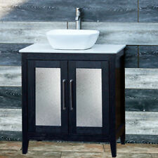 "30"" Bathroom Black Vanity 30-inch Cabinet White Quartz Top vessel Sink A30B-W"