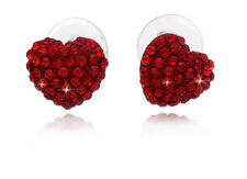 Small Red Crystal Pave Heart Post Stud Earrings Jewelry Valentine's Day Gift