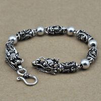 "Real 925 Sterling Silver Bracelet Link Chain Dragon Bead Men's 7.1"" - 9.4"""