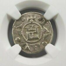 Conrad III Genoa Crusader Coin NGC AU 50 Silver Denaro Knights Templar Cross