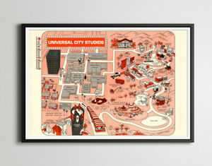Vintage 1968 Universal Studios Visitor's Map POSTER! (up to 24 x 36) - Hollywood