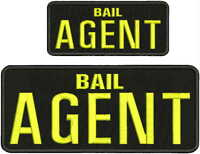 BAIL AGENT EMBROIDERY PATCH 4X10 AND 2.5X6  hook on backblk/yellow