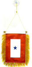 """One Blue Star Service Mini Flag 4""""x6"""" Window Banner w/ suction cup"""