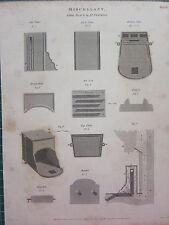 1814 datato antico stampa ~ Miscellany Fire Place Franklin PIASTRA AIR base dell' otturatore