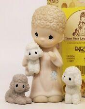 Precious Moments SHEPHERD WITH LAMBS 183954 - 3 Piece Large Nativity Set / RARE