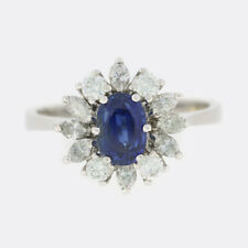 Sapphire Diamond Ring- Vintage Sapphire and Diamond Cluster Ring 18ct White Gold
