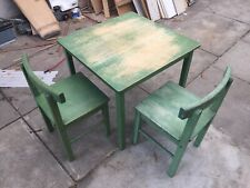 Solid Timber Green Kids Table And Chairs