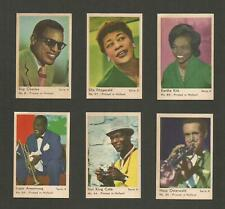 JAZZ SINGERS  of the 1950's and 1960's. Lot of 6 -1963 Dutch Gum Cards FREE SHIP