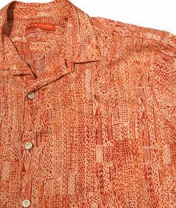 Tori Richard Polynesian tapa shirt large Aloha Hawaiian Button Front orange
