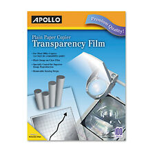 Apollo B/W Laser Transparency Film w/Removable Sensing Stripe Letter Clear 100