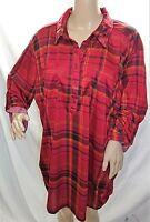French Laundry Women Plus Size 1x 2x 3x Black Red Plaid Tunic Top Blouse Shirt
