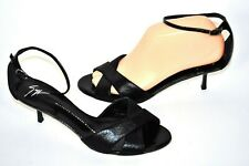 Giuseppe Zanotti Womens 38 7-7.5M $469 Black Ankle Strap Kitten Heel Sandal LN!
