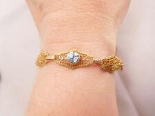 Filigree Blue Topaz Zircon Stone Bracelet Sweet Art Deco 10K Solid Yellow Gold