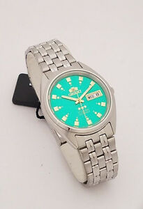 ORIENT 3 Star Automatic Watch Mens SILVER tone GREEN Dial FAB00009N9 New