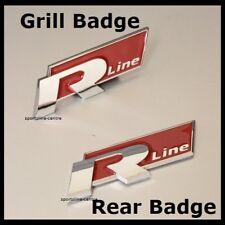 NUOVA linea rossa Cromo R Grill + Posteriore Set avvio Badge Emblema Decalcomania Auto Anteriore VW 34rs