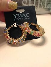 YMAC New York Pretty Goldtone Crystal Jeweled Hoop Gypsy Costume Earrings