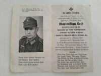 WW2 DEATH CARD GERMAN WEHRMACHT SOLDIER MOUNTAIN HUNTER REGT.DIED 1943 AGE 36