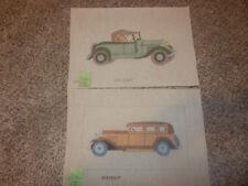 Handpainted Needlepoint Canvas Vintage Cars set of 2 Eva Brent NEW