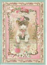 Rice Paper -Pink Christmas Kitten - for Decoupage Scrapbook Craft