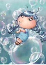 RARE Blue fairy pixie blows bubbles by Lia Selina Russian modern postcard