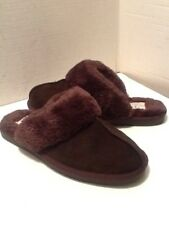 ST JOHN'S BAY WOMEN'S BROWN SUEDE WITH FAUX FUR TRIM SLIPPERS SIZE 7.5